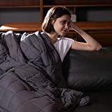 Syrinx King Size Weighted Blanket 25lbs, 80''x87'', Dark Grey for Adults, 100% Breathable Fabric Heavy Blanket with Glass Beads