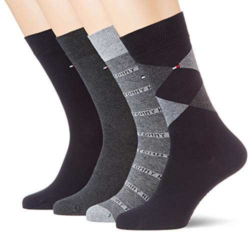 Tommy Hilfiger Herren TH Men 4P GIFTBOX Argyle Socken, Schwarz (Black 200), (Herstellergröße: 39/42) (4er Pack)