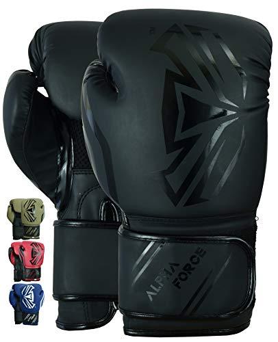 ALPHA FORCE 3.0 Boxhandschuhe Muay Thai Training Sparring Boxsack Mitts Kickboxen Kämpfen (Mattschwarz, 14 oz)