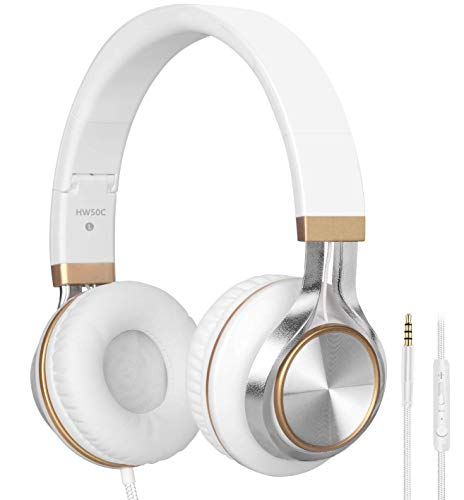 Headphones,BienSound HW50C Stereo Folding Headsets Strong Low Bass Headphones with Microphone for iPhone, All Android Smartphones, PC, Laptop, Mp3/mp4, Tablet Macbook Earphones (White&Gold)