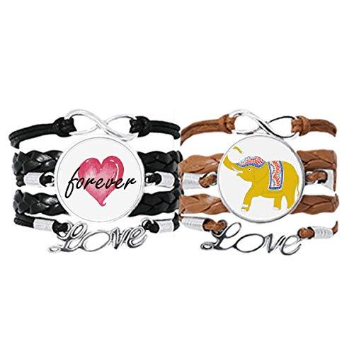 Bestchong Tailandia amarillo elefante escudo pulsera correa de mano cuerda de cuero Forever Love pulsera doble conjunto