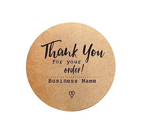 """Thank You for Your Order Sticker Labels - Personalized with Business Name - Customized Set of 60 Labels - 1.5"""" Round Kraft : PaperColorful"""
