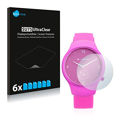 Savvies 6X Schutzfolie kompatibel mit Runtastic Moment Fun Bildschirmschutz-Folie Ultra-transparent