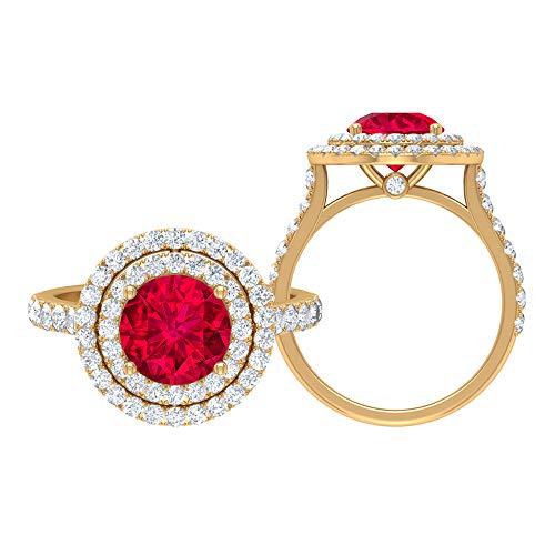 Juego de anillos de solitario para novia, 2,25 quilates redondos, D-VSSI Moissanite 8 mm rubí, anillo de doble halo con piedras laterales, joyería de oro para ella, 10K Oro amarillo, Size:EU 49