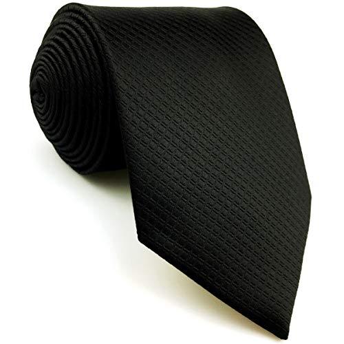 Shlax&Wing Herren Geschäftsanzug Seide Krawatte Einfarbig Schwarz Extra lang Dünne