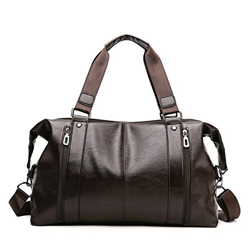 Dfghbn Travel Bags Men's Travel Bag PU Leather Travel Bag Men's Large Capacity Business Carry-on Luggage Bag Travel Bags For Men And Women (Color : Brown, Size : 45x20x28cm)