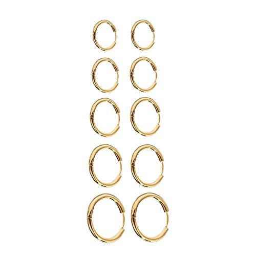 Hiinice Pendientes del aro Pendientes Redondos del círculo de Acero Inoxidable Grueso aro de Juego de Joyas para la Mujer de la Muchacha de los Hombres de Oro 10PCS