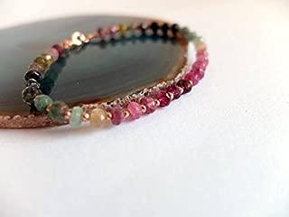 Watermelon Tourmaline Bracelet,Rose Gold Beads,Multi Color,Watermelon Tourmaline Bracelet, Pink,Green Multicolored Ombre Gemstone bracelet 4 -4,50 mm