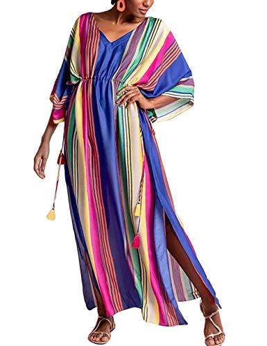 Bsubseach Mujer Maxi Vestido De Playa con Cuello En V Turco Kaftan Rayas Coloridas Traje De Baño