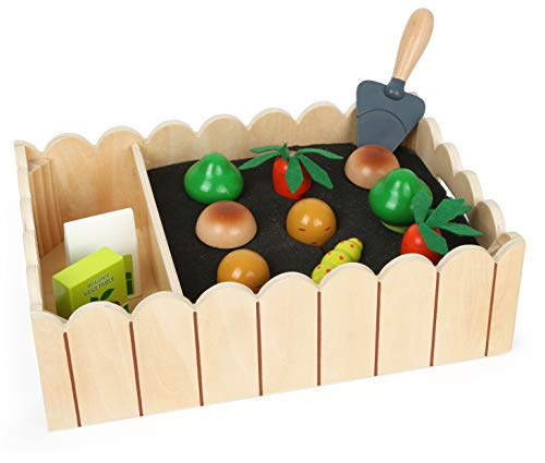Small Foot 12011 Vegetable Garden with Wooden Play Set for Children from 3 Years and Above Play Set with Vegetables, Fertiliser and Shovel Toy Multi-Coloured
