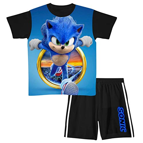S-oN-ic Short Sleeve T-Shirt and Shorts, 2 Piece Outfit Clothes Set for Kids
