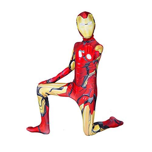GYMAN Avengers Iron Man Kostüm für Kinder und Erwachsene, 3D-Druck, Halloween, Karneval, Cosplay, Bodysuit, für Party, Film, Requisiten (120 ~ 130 cm)
