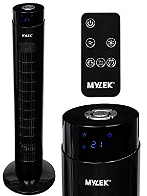 """MYLEK Tower Fan Electric Oscillating with Remote Control, Timer, Quiet and 3 Cooling Speed Settings, Energy Efficient - Black, 34"""""""