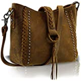 Real Cowhide Leather Crossbody Bags Studded Genuine Leather Hobo Handbag for Women With Shoulder Strap (Brown)