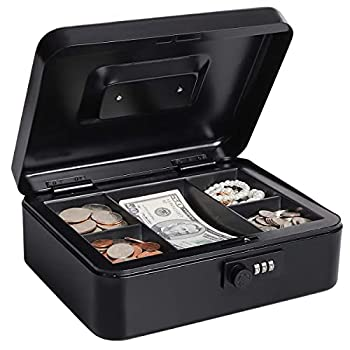 Lovndi Cash Box with Combination Lock Metal money Box for Cash Lock Box with Money Tray 9.84x 7.87x 3.54 Inches Black