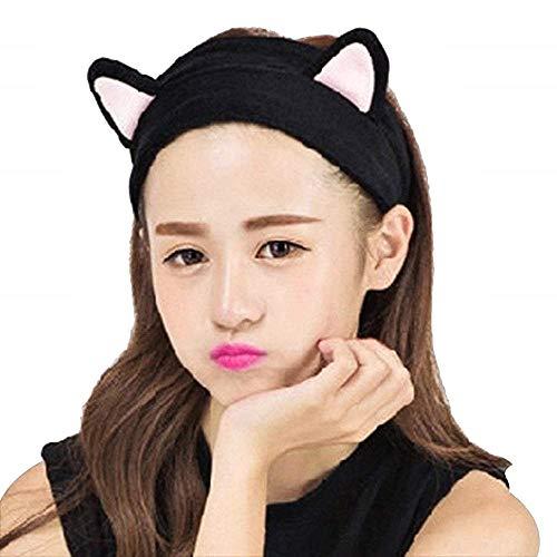 Fascia capelli donna gatto invernale calda adatta per trucco lavare il viso nero Idea Regalo Natale Compleanno Festa