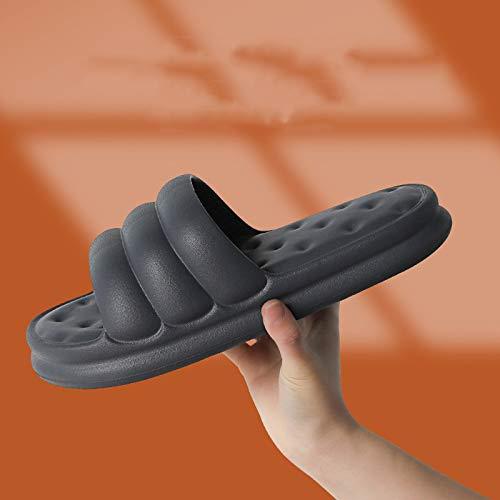 QAZW Toboganes Tipo Almohada para Mujer Zapatos De Ducha Antideslizantes Zapatillas De Baño Ligeras,Grey-9/10
