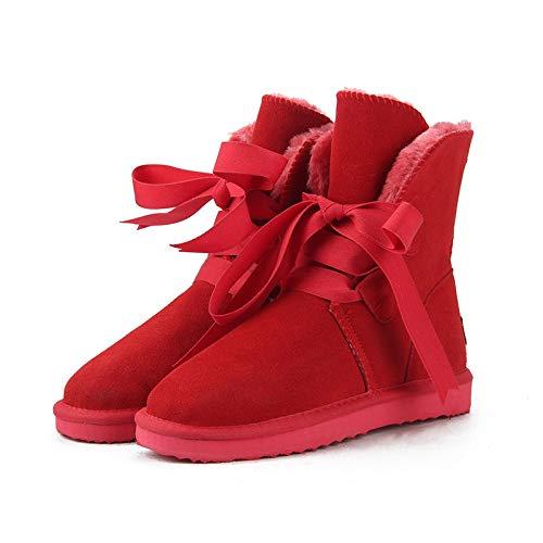 Hausschuhe Baumwollpantoffeln Neue Top-Qualität Mode Damen Schneeschuhe WinterstiefelWarme Damenstiefel Schuhe 10 Rot
