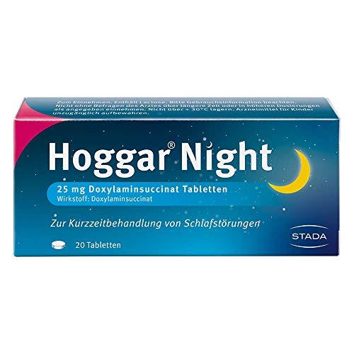 Hoggar Night – Schlaftabletten zur Hilfe beim Einschlafen und bei akuten Schlafstörungen – Gut verträglich, für erholsamen Schlaf – 1 x 20 Tabletten