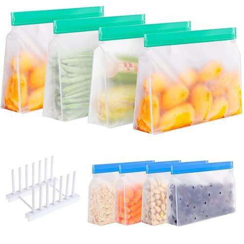 MeYuxg Wiederverwendbare Aufbewahrungs Beutel, silikonbeutel Zip mit Abtropfgestel, Gefrierbeutel Wiederverwendbar, Kühlschrank Beutel für Obst Gemüse Fleisch und Brot, ohne BPA