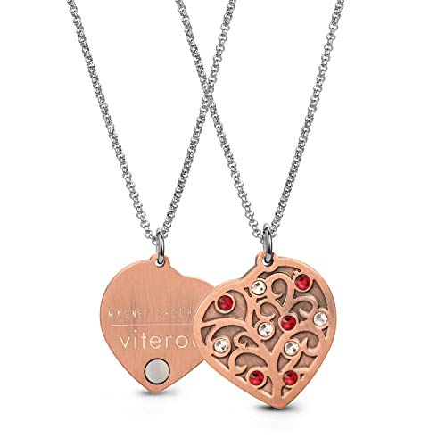 VITEROU Womens Magnetic Pure Copper Therapy Love Heart Family Tree Pendant Necklace with Healing Magnets Pain Relief for Neck Arthritis Migraine Headaches Shoulders and Back,3500 Gauss