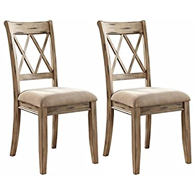 Ashley Furniture Signature Design - Mestler Dining Side Chair - Upholstered Seat - Set of 2 - Antique White