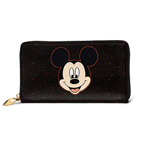 Cartera de cuero con bloqueo de Mickey Mouse de gran capacidad con cremallera y crédito, organizador de carteras