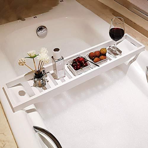 RUIXFRU Estante de madera de bambú de lujo, bandeja de baño, estante antideslizante para bañera, color blanco