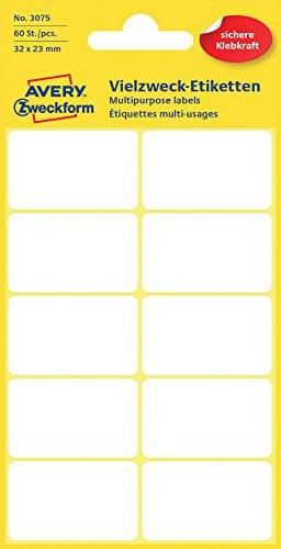 Avery Zweckform 3075 Haushaltsetiketten selbstklebend (32 x 23 mm, 60 Aufkleber auf 6 Bogen, Vielzweck-Etiketten für Haushalt, Schule und Büro zum Beschriften und Kennzeichnen) blanko, weiß