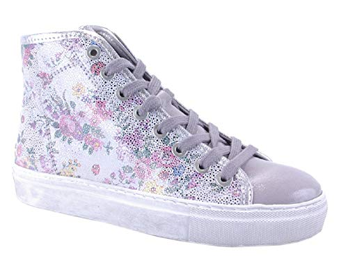 Binks Damenschuh Damen-Sneaker halbhoch Silber grau geblümt Blümchenmuster mit Glitzer NEU (40)