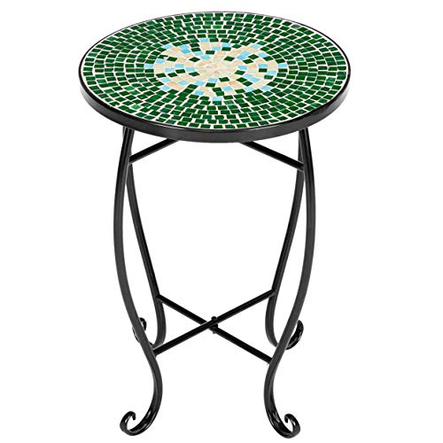 WHWVV Patio Side Table, Mosaic Round Terrace Bistro Table with Coloured Glass, Wrought Iron Livingroom Coffee Table Plant Table Outdoor Garden Pool (35 * 35 * 52Cm),Flowers