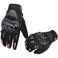 AmazonBasics Motorbike Powersports Racing Gloves, Large, Red