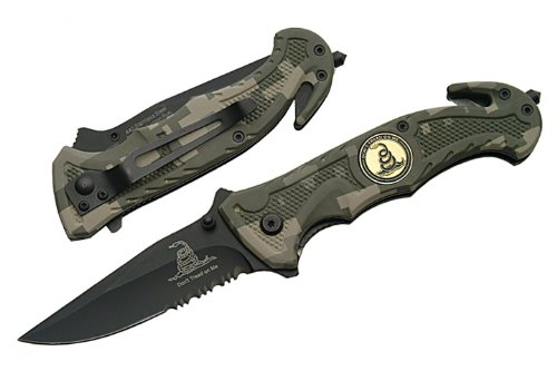 "R-80-CA. Trigger Assist 8"" Tactical Knife ""Don't Tread On Me""- Digi Camo Trigger Assisted Tactical Folder 'Don't Tread On Me' Green Digital Camo 8"" Drop-Point Blade. Half-Serrated. With Window Breaker and Seat Belt Cutter Rescue knife that is made very well. Strong Metal frame that has a nice Marine Camo Aluminum Scales on it. Comes with a free Belt Clip folding knife blade weapon Panttttr"