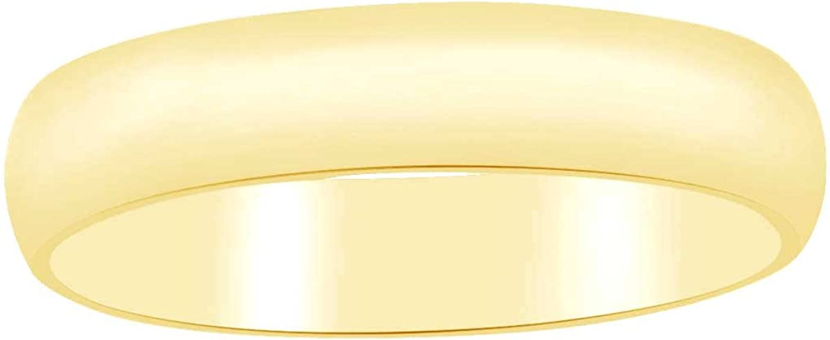 Solid 14k Yellow Gold 2mm 3mm 4mm 5mm 6mm Comfort Fit Mens Wedding Dome Band Ring
