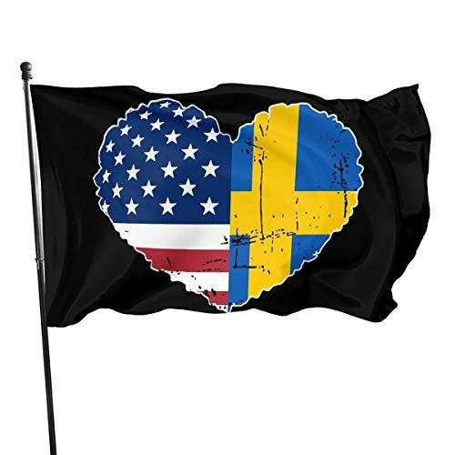 N/A Breeze Flag 3 x 5 schwedische USA Flagge Herz 100% Polyester einschichtige durchscheinende Flaggen 90 x 150 cm - Banner 3 'x 5'