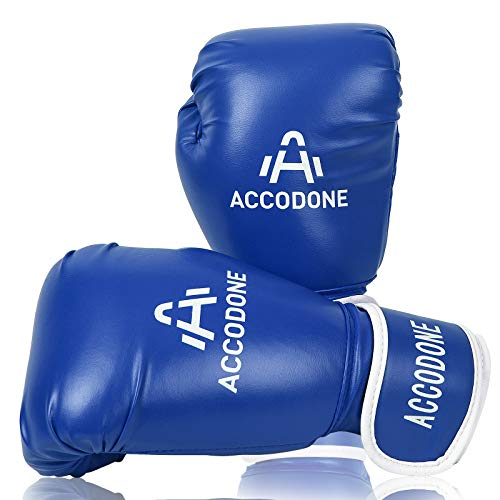 ACCODONE Boxing Gloves for Men and Women, Synthetic Leather Kickboxing Gloves for Sparring, Muay Thai and Heavy Bag, Suitable for Home Fitness and Fight Training(Blue)