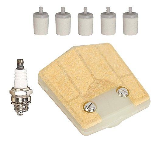 ouyfilters Filtro de aire con filtro de combustible para bujías para Husqvarna 6166266181281288motosierra reemplazar 5018071–01