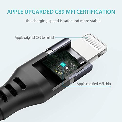 Syncwire iPhone Ladekabel 2M【2020 Neueste C89-Chips】 Ladekabel iPhone [MFi Zertifiziert] für iPhone SE 2020/11 Pro Max/11 Pro/11/XS Max/XS/XR/X/8/8 Plus/7/7 Plus/6S/6S Plus/6/6 Plus/SE/5 - Schwarz