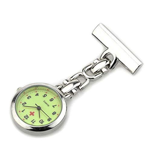 Anoauit Enfermera Reloj Luminoso Profesional Superior Médica Dial Broche Clip Relojes de Bolsillo de Cuarzo Noctilucentes Fluorescentes-Plata