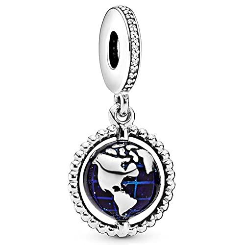 Pandora 925 colgante de plata esterlina Diy Charm Spinning World Map Fit mujer pulsera collar joyería