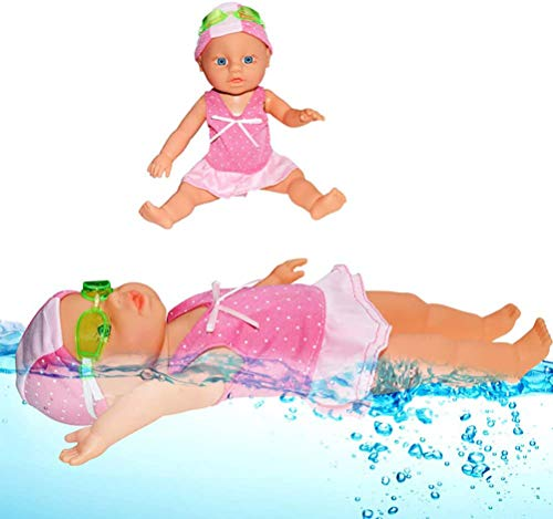 Schwimmpuppe Elektrisch, Schwimmende Puppe, Baby-Schwimmpuppe, Bad Spielzeug, Geburtstagsgeschenke für Kinder Mädchen Jungen, Strand, Schwimmbad