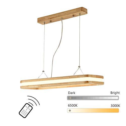 LED Lampe À Suspension en Bois Lustre Suspension Moderne Simple Lustre Éclairage De Plafond Suspension Luminaire Bois Massif Salon Comptoir Bureau Rectangulaire Pendant Light [Classe Énergétique A++]