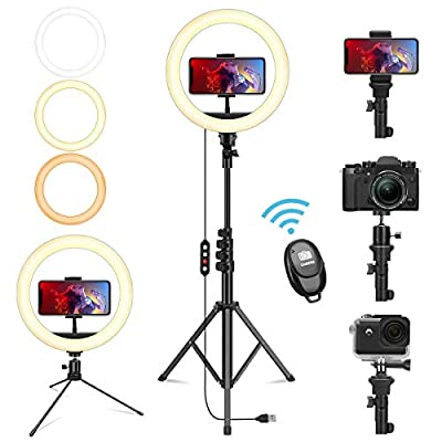 Lardod 10-Inch Selfie Ring Light with 2 Tripod Stands for Phone, Go pro for Youtube&Tiktok Live Stream, Makeup, Selfie. Compatible with Phones and Cameras (1desktop +1 63 inch adjustable Tripod Stand) from Lardod