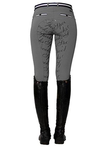 SPOOKS Reithose für Damen Mädchen Kinder, Full-Grip-Besatz Reithosen Leggings Turnierreithose - Ricarda Full Grip Pearls - Stone XS