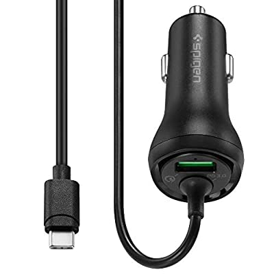 Spigen SteadiBoost USB C Car Charger 36W 6A Dual Port PD 3.0 QC with Built in USB C Cable Power Delivery 18W Compatible with iPhone 12 Pro Max Mini 11 X 8 Plus Galaxy S20 Ultra FE S10 S9 Note 20 10 9