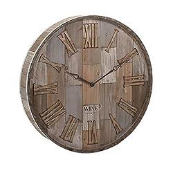 "CC Home Furnishings 28"" Wood Barrel Clock Wall Decor"