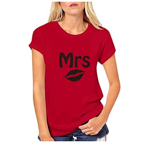 Dasongff Partner-shirt voor dames en heren, Mr Mrs, partner-look, set T-shirts voor koppels als geschenk XX-Large rood/dames.