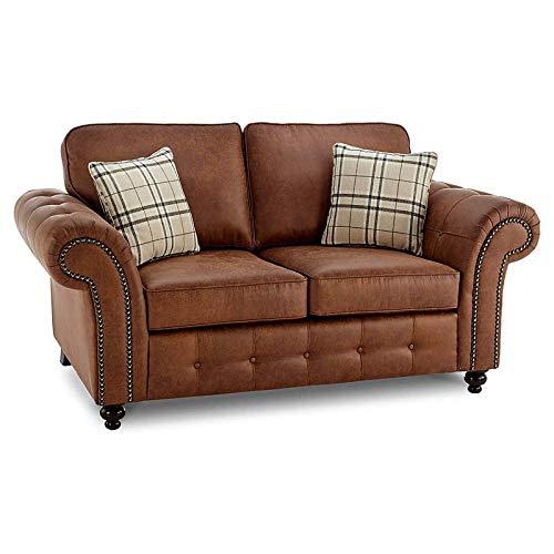 Juego de sofá de 2 + 3 plazas de piel sintética para salón, dormitorio, habitación y oficina (marrón)