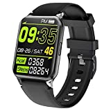 Kalakate Smart Watch for Men Women, IP68 Waterproof Fitness Tracker for Android iOS Phones, Smartwatch with 1.54' Touch Screen, Pedometer, Heart Rate, Sleep Monitoring, Weather Forecast (Black)