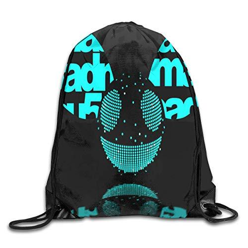 JHUIK Drawstring Bag Backpack,Deadmau5 Mode Sac à Dos Design épaule Sac à Cordon Homme Femme Sacs Blanc Taille Unique